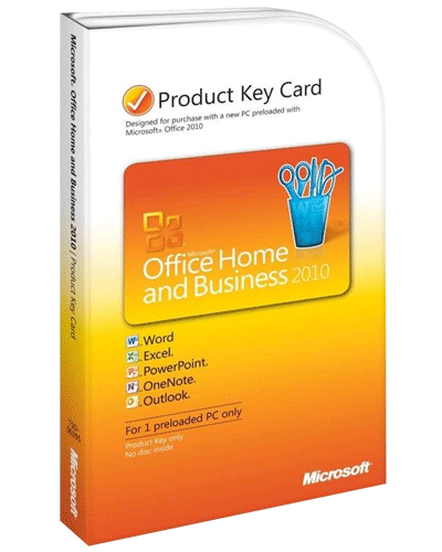 Microsoft Office 2010 Home and Business, 32/64 Bit, Product Key Card (PKC), SB, Deutsch