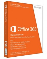 Microsoft Office 365 Home, 32/64 Bit, (5PCs/MACs - 1 Jahres-Abonnement - inkl. Office 2016 bei Mac Installation), Win/Mac, SB, Deutsch