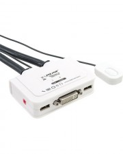 InLine KVM Switch 2-fach DVI-D USB mit Audio integr. Kabel Ports: 2 x KVM/Audio/USB Desktop
