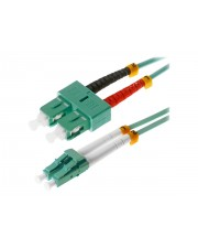 Helos Patch-Kabel LC Multi-Mode M bis SC multi-mode M 2 m Glasfaser 50/125 Mikrometer OM3 Aquamarin (115740)