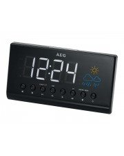 AEG MRC 4141 P Radiouhr Projection Clock Radio LED display 15.5cm FM 2 alarm time projection weather indication room temperature Black (400614)