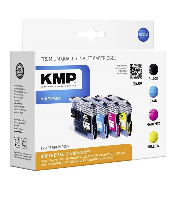 KMP B48V 4er-Pack Schwarz Gelb Cyan Magenta Tintenpatrone Alternative zu: Brother LC-223BK LC-223M LC-223C LC-223Y für DCP-J4120 J562 MFC-J4625 J480 J680 J880 Business Smart MFC-J4420 J4620 (1529,0050)