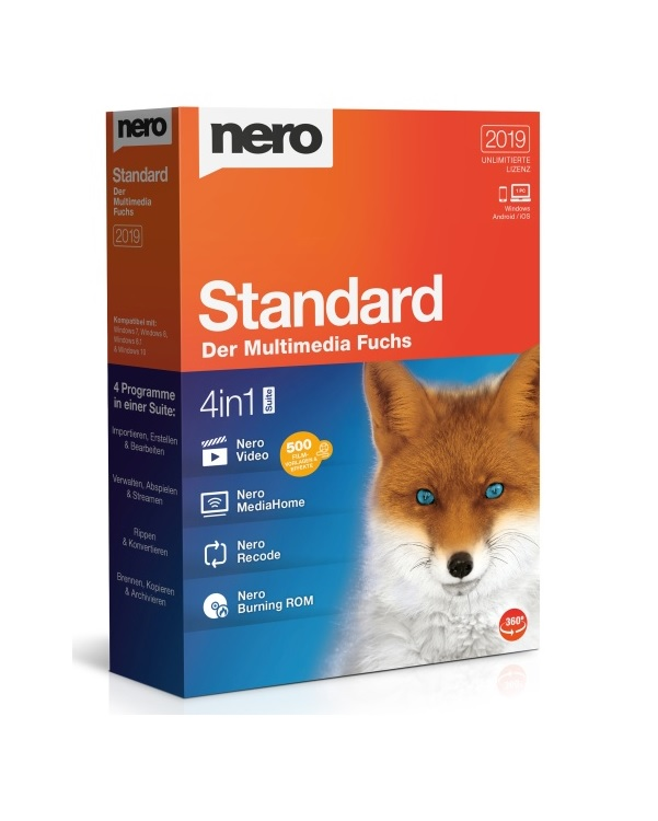 Nero Standard 2019 Windows/Android, Deutsch (4052272002301)