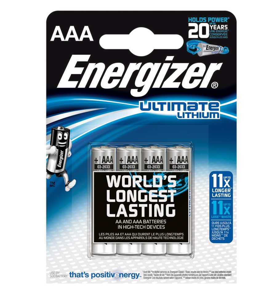 Energizer Ultimate Lithium Batterie 4 x AAA-Typ Li 1250 mAh