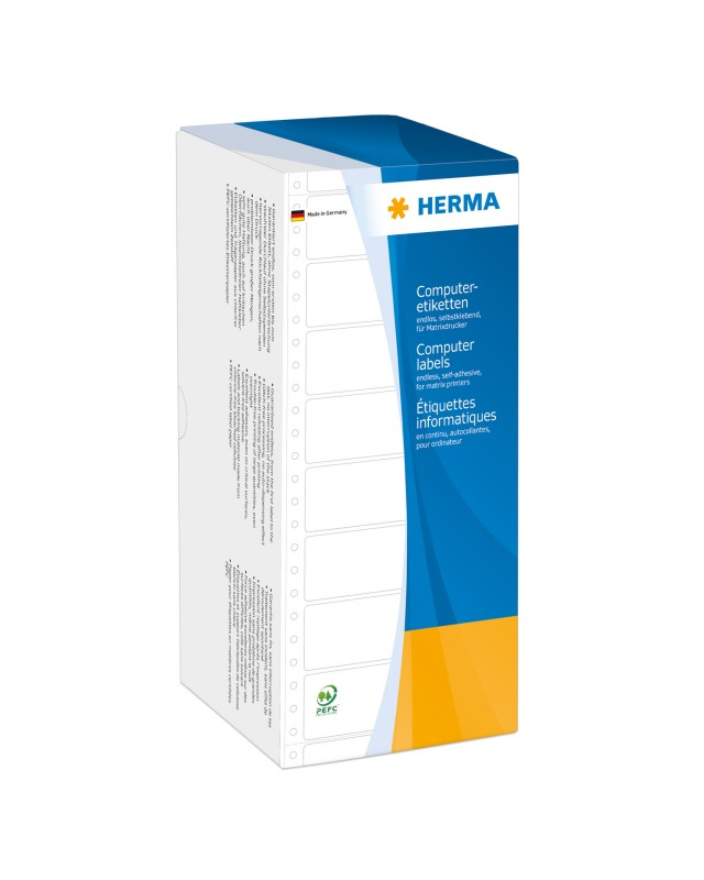 HERMA Computer labels Continuous fanfold Papier matte permanent self-adhesive perforated weiß 101.6 x 48.4 mm 6000 Etiketten