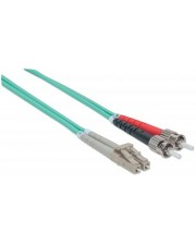 Intellinet Patch-Kabel ST multi-mode M bis LC Multi-Mode M 2 m Glasfaser 50/125 Mikrometer OM3 halogenfrei Aquamarin