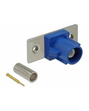 Delock FAKRA C plug spring pin for crimping 2 prepunched holes Modulares Faceplate-Snap-In C Signalblau RAL 5005