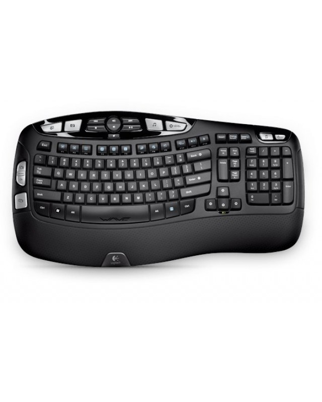 Logitech Wireless Keyboard K350 Tastatur drahtlos 2.4 GHz (USB) Deutsch Schwarz