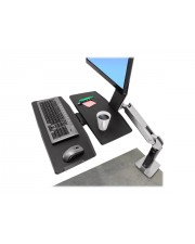 Ergotron WorkFit-A Single LD with Worksurface+ Aufstellung Tablett Gelenkarm Spannbefestigung für Tisch Pivot LCD-Bildschirm/Tastatur/Maus Schwarz Polished Aluminum Bildschirmgröße: bis zu 61 cm 24 Zoll