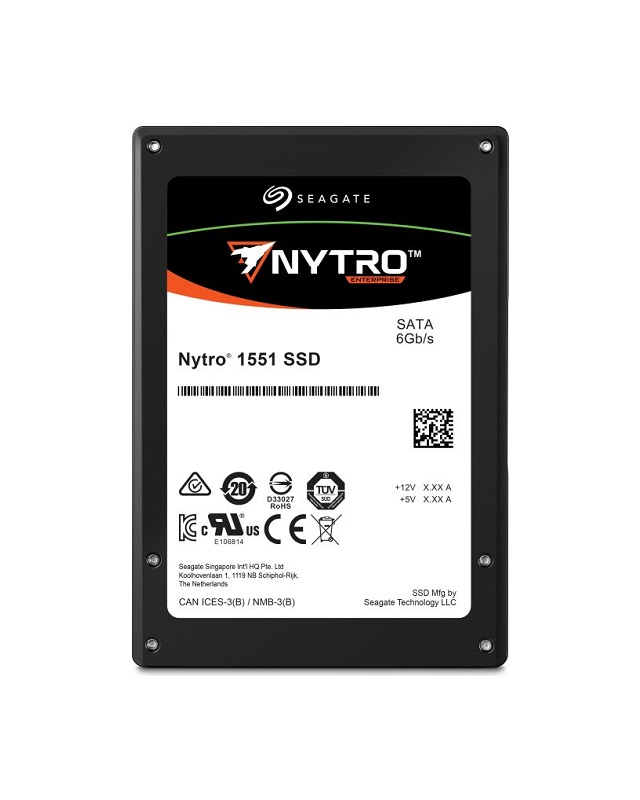 "Seagate Nytro 1551 SSD 960GB Mainstream Endurance SATA 6Gb/s 6.4cm 2.5Zoll 3DWPD SD&D 3D Solid State Disk Serial ATA 2,5 "" 960 GB"