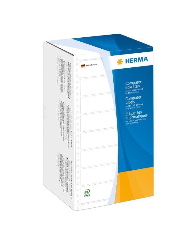 HERMA Computer labels Continuous fanfold Papier matte permanent self-adhesive perforated weiß 147.32 x 99.2 mm 3000 Etiketten