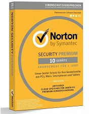 Symantec Norton Security Premium 3.0 25 GB 10 Geräte 1 Jahr Abo Download, Deutsch