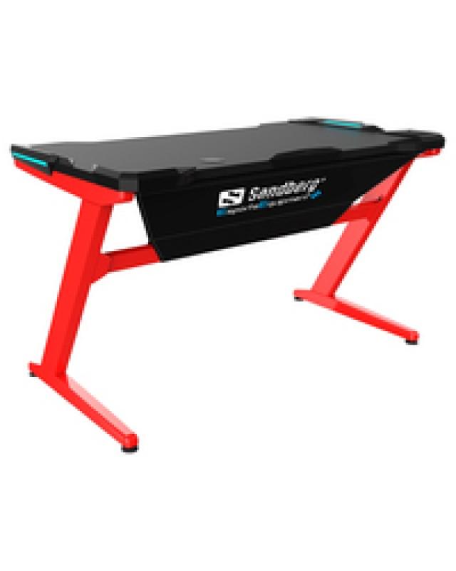 SANDBERG Fighter Schwarz Rot Computertisch Gaming Schreibtisch