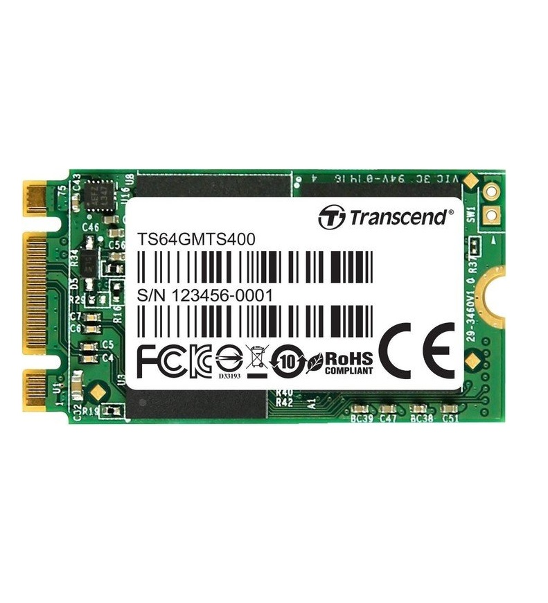 Transcend 64GB M.2 2242 SATA MLC Solid State Disk Serial ATA 150 MB/s (TS64GMTS400S)