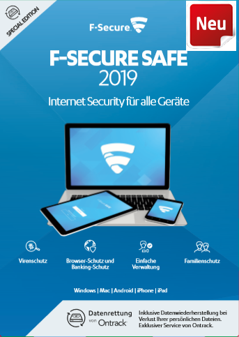 F-Secure Safe (Neuste Version) 3 Geräte 2 Jahre + Data Recovery Multiplattform, Multilingual (FCFXBR2N003X9)