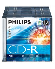 Philips 10 x CD-R 700 MB 80 Min 52x 0,7 GB 80min 10er Slim Case