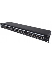 Intellinet 720854 IEEE 802.3,IEEE 802.3ab,IEEE 802.3u Cat6a Gigabit Ethernet F/UTP FTP Schwarz 1U Patch Panel 24-Port Shielded 90° Top-Entry Punch Down Blocks Black (720861)