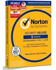 Symantec Norton Security Deluxe 3.0 5 Geräte 1 Jahr Abo Multiplattform, Deutsch