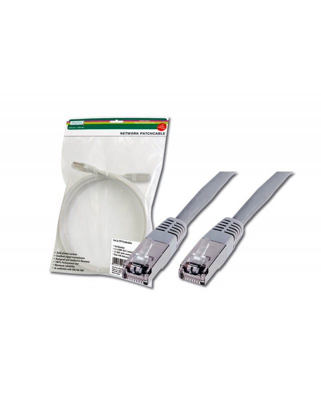 DIGITUS Premium Patch-Kabel RJ-45 M bis M 2 m FTP CAT 5e geschirmt Grau