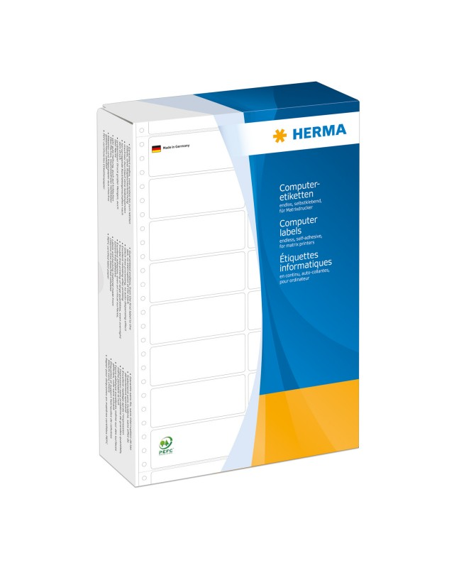 HERMA Computer labels Continuous fanfold Papier matte permanent self-adhesive perforated weiß 88.9 x 48.4 mm 6000 Etiketten 2 Bogen x 3000