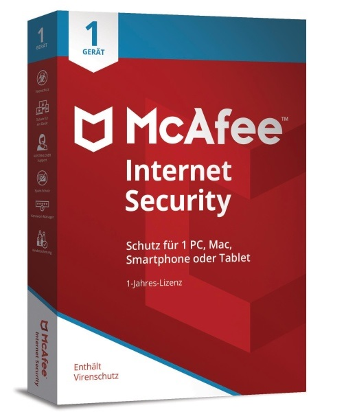 McAfee 2018 Internet Security 1 Gerät 1 Jahr (Code in a Box) Win/Mac/Android/iOS, Deutsch (MIS00GNR1RAA)