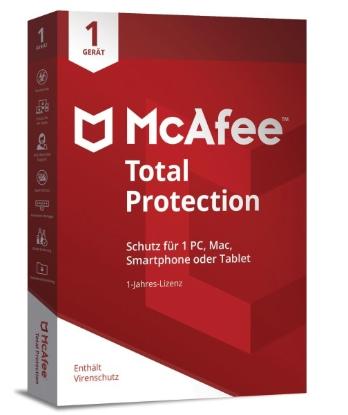 McAfee 2018 Total Protection 1 Gerät 1 Jahr (Code in a Box) Win/Mac/Lin/Android/iOS, Deutsch (MTP00GNR1RAA)