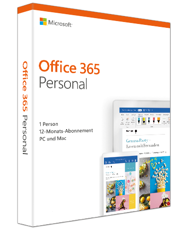 Microsoft Office 365 Personal 1 PC/MAC & 1 Tablet (Neueste Version) PKC, Deutsch