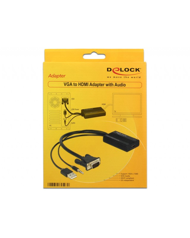 Delock VGA to HDMI Adapter with Audio Video- / Audio-Adapter /