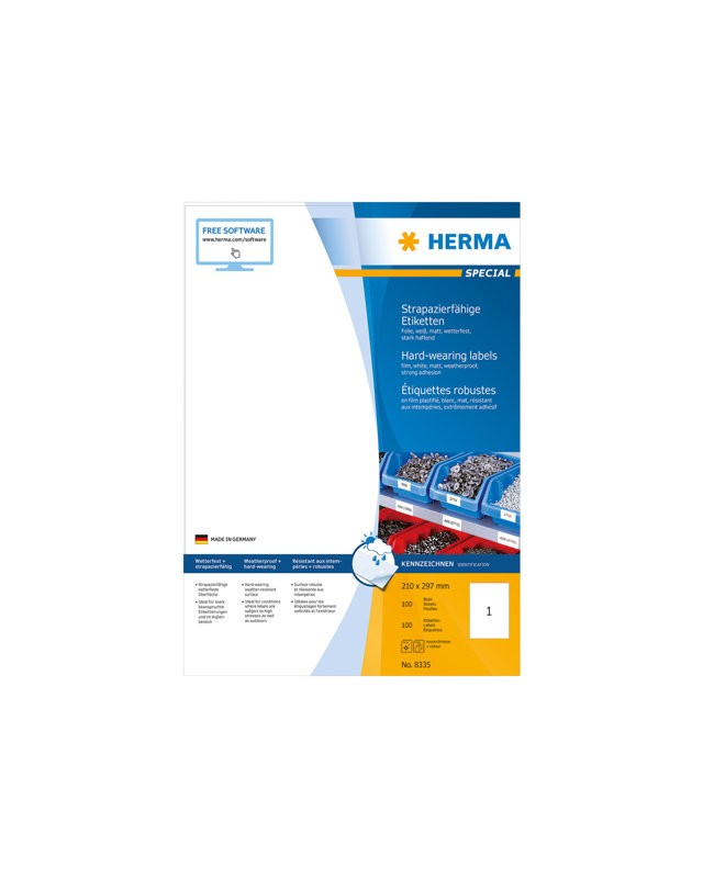 HERMA Special Film labels matte self-adhesive weiß A4 210 x 297 mm 100 Stck.