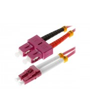 Helos Patch-Kabel LC Multi-Mode M bis SC multi-mode M 2 m Glasfaser 50/125 Mikrometer OM4 Erikaviolett