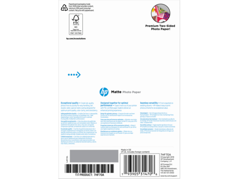 HP Matte FSC Photo Paper 4x6 25 sheets Foto-Papier Blatt
