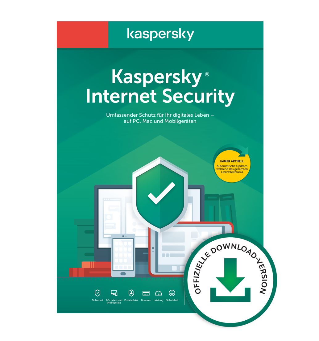 Kaspersky Internet Security 2021 1 Gerät 1 Jahr Download Win/Mac/Android/iOS, Deutsch