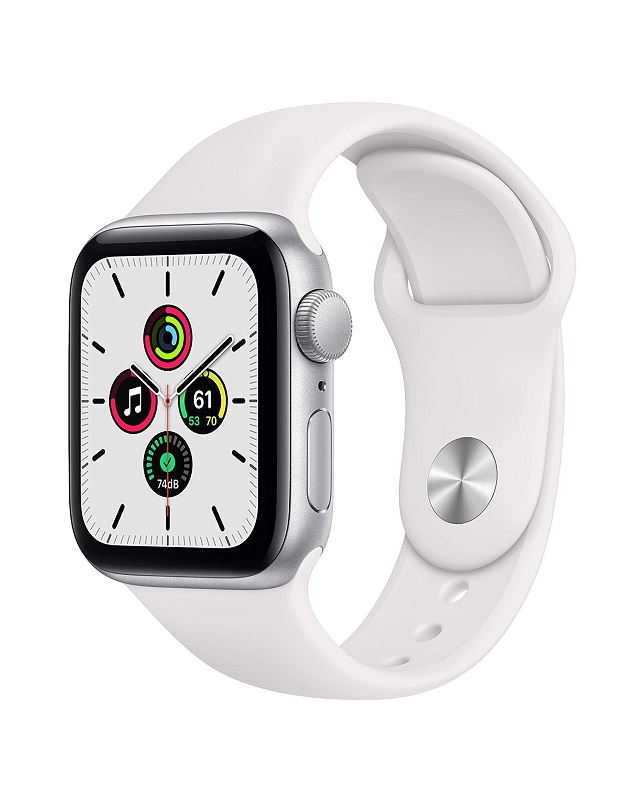 Apple Watch SE Alu 40mm Silber Sportarmband we Weiß