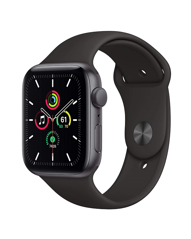 Apple Watch SE Alu 44mm SpaceGrau Sportarmband Schwarz Grau