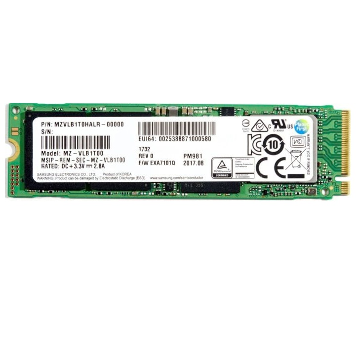 Samsung PM981 NVMe SSD PCIe M.2 Typ 2280 bulk 1 TB Solid State Disk GB Intern