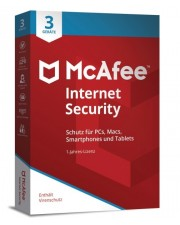 McAfee 2018 Internet Security 3 Geräte 1 Jahr (Code in a Box) Win/Mac/Android/iOS, Deutsch (MIS00GNR3RAA)